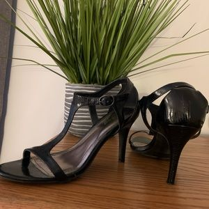 Black croc sandals